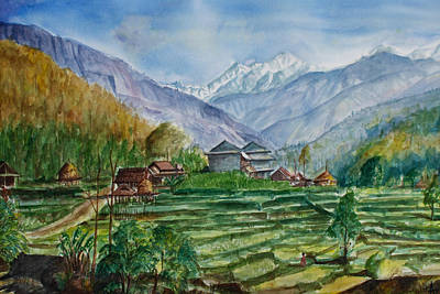 Nepali Painting - Manasalu by Arjoon KC