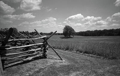 Print featuring the photograph Manassas Battlefield Bw by Frank Romeo