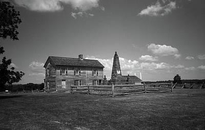 Print featuring the photograph Manassas Battlefield Farmhouse 2 Bw by Frank Romeo