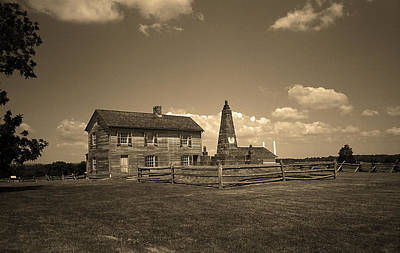 Sepia Vintage Farmhouse Photograph - Manassas Battlefield Farmhouse 2 Sepia by Frank Romeo
