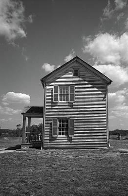 Print featuring the photograph Manassas Civil War Battlefield Farmhouse Bw by Frank Romeo