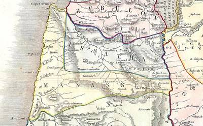 Maps Photograph - Manasseh 1852 Philip Map Of Palestine  Israel  Holy Land by Paul Fearn