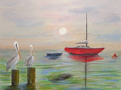 Key West Painting - Manatee And Pelican Bay by Ken Figurski