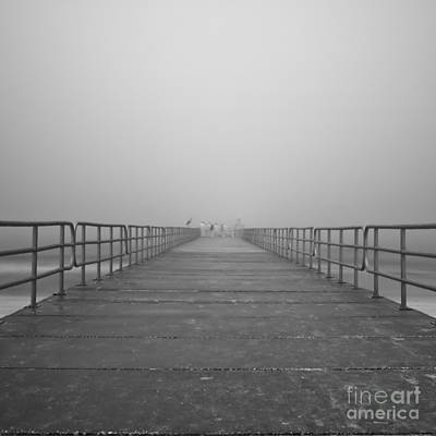 Manatee Beach Pier In Fog Infrared 39 Art Print by Rolf Bertram