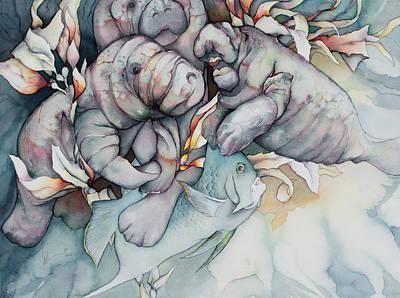 Bekman Wall Art - Painting - Manatee Heaven by Liduine Bekman