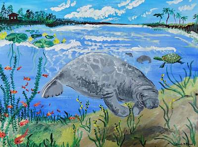 manatee in the Lagoon Art Print by Renate Pampel