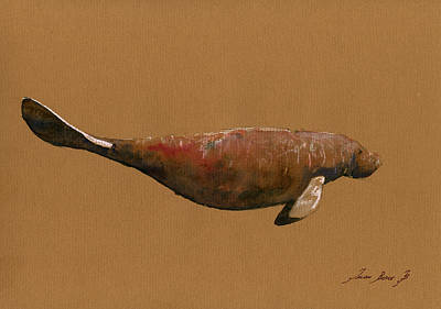 Cow Art Painting - Manatee by Juan  Bosco