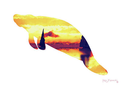 Tropical Mixed Media - Manatee Silhouette Art by Ken Figurski