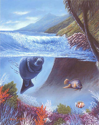 Painting - Manatee, Want To Play? by Susan Elizabeth Wolding
