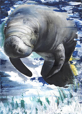 Whale Mixed Media - Manatees by Anthony Burks Sr