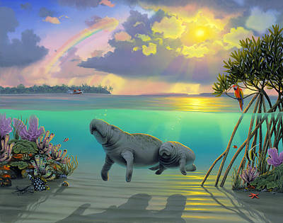 Mother And Son Painting - Manatees by MGL Meiklejohn Graphics Licensing