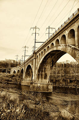 Manayunk Bridge Across The Schuylkill River In Sepia Art Print by Bill Cannon
