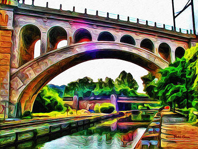 Manayunk Canal And Bridge Art Print by Bill Cannon