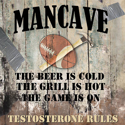 Beer Royalty-Free and Rights-Managed Images - Mancave Football by Mindy Sommers