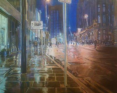 Manchester At Night Art Print