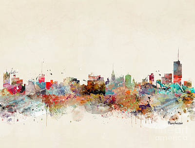 Painting - Manchester City Skyline by Bleu Bri