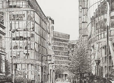 Pen And Ink Drawing Drawing - Manchester  Deansgate by Vincent Alexander Booth