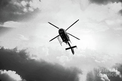 Photograph - Manchester Police Helicopter - Uk - Black And White by Doc Braham