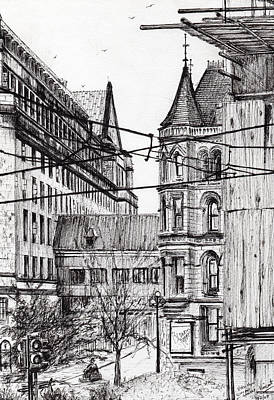 City Art Drawing - Manchester Town Hall From City Art Gallery by Vincent Alexander Booth