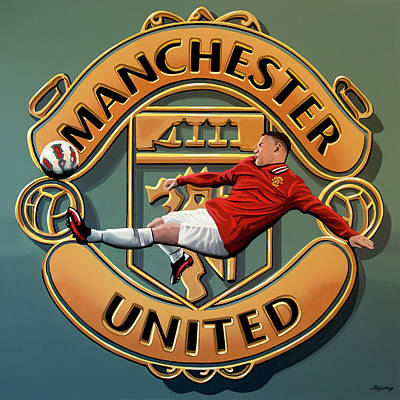 League Painting - Manchester United Painting by Paul Meijering