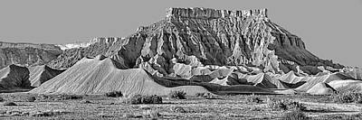 Photograph - Mancos Shale - Geology - Utah - Black And White by Nikolyn McDonald
