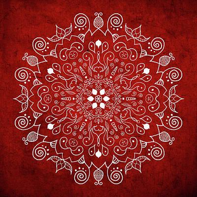 Digital Art - Mandala 1 Red by Patricia Lintner