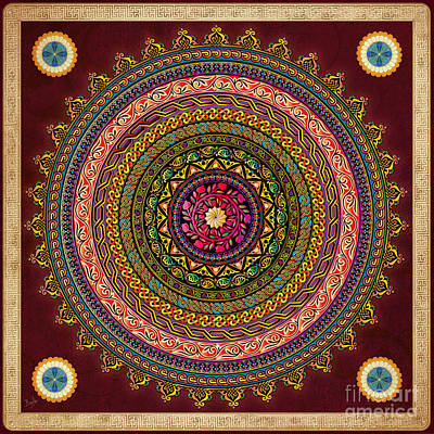 Mandala Armenian Decorative Art - Bordeaux Version Art Print by Bedros Awak