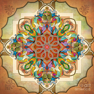 Mandala Birds Art Print by Bedros Awak