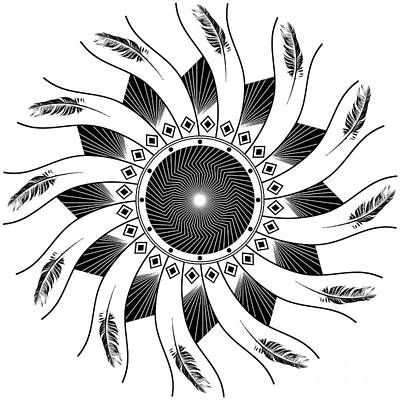 Art Print featuring the digital art Mandala Black And White by Linda Lees