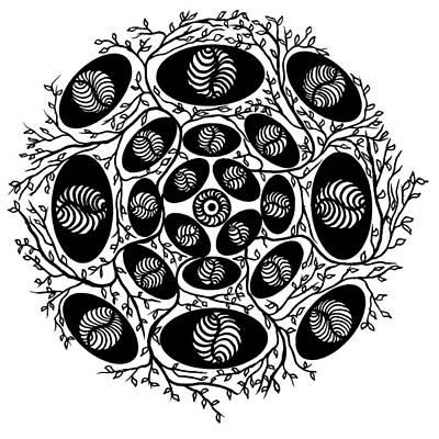 Leaf Drawing - Mandala Black On White 15-05-05 by Leana De Villiers