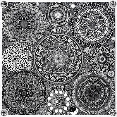 Black And White Art Drawing - Mandala Bouquet by Matthew Ridgway