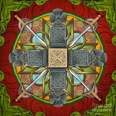 Religious Mixed Media - Mandala Celtic Glory by Bedros Awak