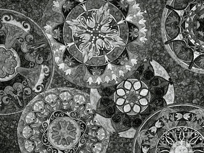 Photograph - Mandala Design, Black And White by Kim Tran