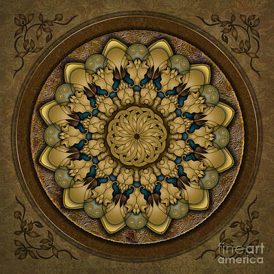 Earth Tones Mixed Media - Mandala Earth Shell by Bedros Awak