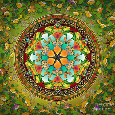 Flower Blooms Mixed Media - Mandala Evergreen by Bedros Awak