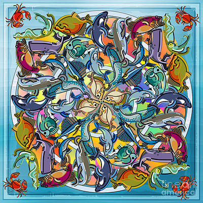 Whale Mixed Media - Mandala Fish Pool by Bedros Awak