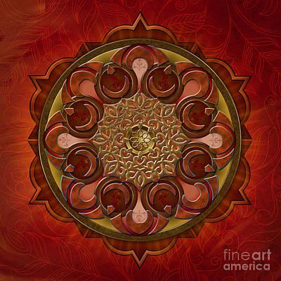 Awak Mixed Media - Mandala Flames by Bedros Awak