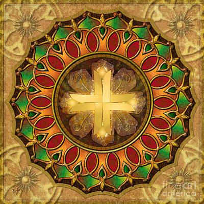 Center Mixed Media - Mandala Illuminated Cross by Bedros Awak