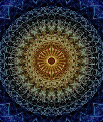 Photograph - Mandala In Blue And Amber Tones by Jaroslaw Blaminsky