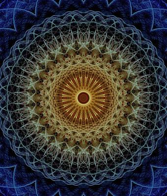 Photograph - Mandala In Blue And Amber Tones by Jaroslaw Blaminsky