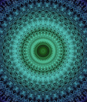 Digital Art - Mandala In Blue And Green Tones by Jaroslaw Blaminsky