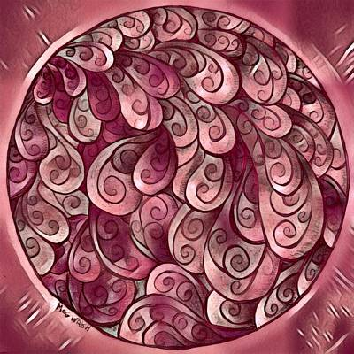 Digital Art - Mandala In  Burgundy And Peach by Megan Walsh