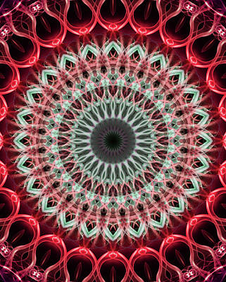 Photograph - Mandala In Green And Red Tones by Jaroslaw Blaminsky