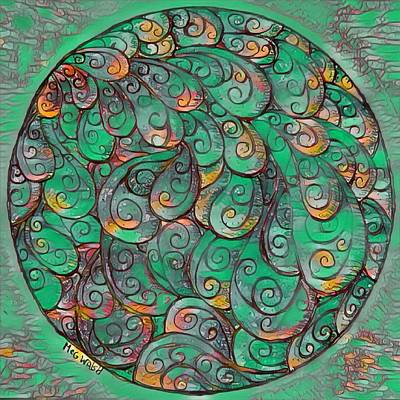 Digital Art - Mandala In Green by Megan Walsh