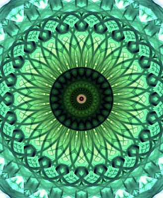 Photograph - Mandala In Light And Dark Green Tones by Jaroslaw Blaminsky