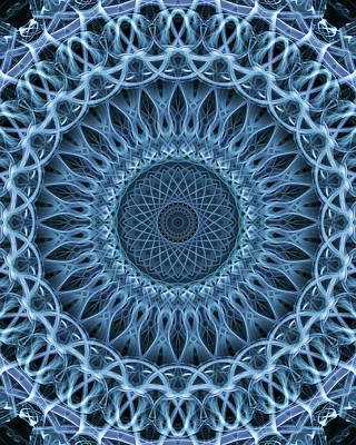 Photograph - Mandala In Light Blue Tones by Jaroslaw Blaminsky