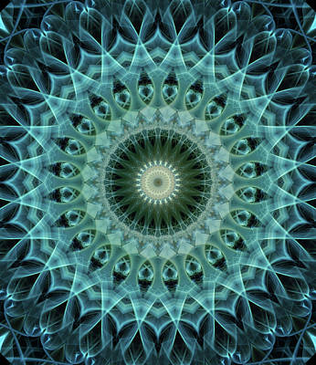 Photograph - Mandala In Light Green And Blue Tones by Jaroslaw Blaminsky