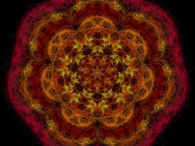 Digital Art - Mandala In Reds And Oranges by Megan Walsh