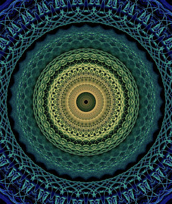 Photograph - Mandala In Yellow,gren And Blue Tones by Jaroslaw Blaminsky