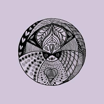 Leaf Drawing - Mandala Ldv 2015-02-02 Transparent Black by Leana De Villiers